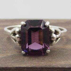 Size 7.75 Sterling Silver Purple Faux Stone Ring